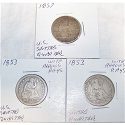 (3X$) U.S SEATED QUARTERS. 1853,1857.
