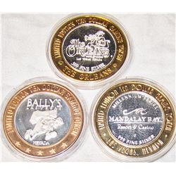 (3X$) .999 LIMITED EDITION SILVER CASINO STRIKES.
