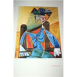 Limited Edition Picasso - Seated Woman In An Armchair - Collection Domaine Picasso