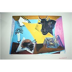 Limited Edition Picasso - Still Life with Candle, Pallette and Black Bull's Head - Collection Domain