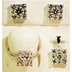 Lady's Antique Sterling Silver White Sapphire & Diamond Trio Ring, Earrings & Pendant.