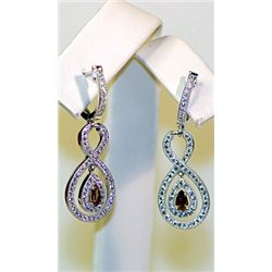 Lady's Antique Style Sterling Silver Golden Citrine & Diamond Earrings