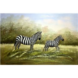 Original Oil on Canvas. Zebras by S. Kurg