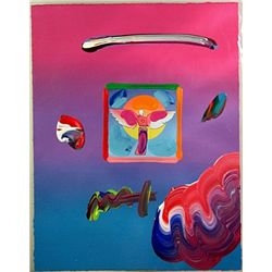 Original Handsigned Peter Max Overpaint - Angel with Sun