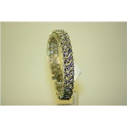 Lady's 14 kt White Gold Tanzanite/Diamond Bracelet