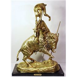 F. Remington Monumental Limited Edition 24K Gold Layered Bronze Sculpture  -Buffalo Horse