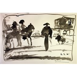 Original Ink wash on laid paper - signed  Picasso