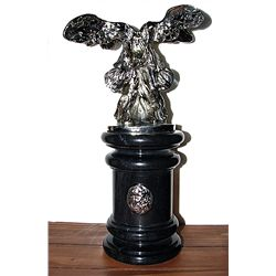 Dali Real Silver Sculpture- Winged Bust on Marble Base