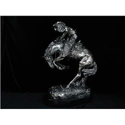 Large Fine Sculpture Frederic Remington Real .999 Silver - The Rattlesnake