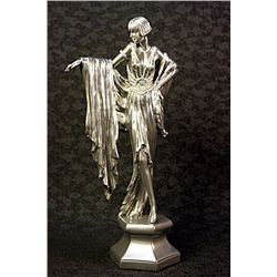 Real Silver Art Deco Chiparus Sculpture -Lady Dancer