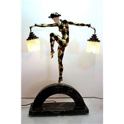 Harlequine Lamp - Bronze and Ivory Sculpture by Andre Bouraine