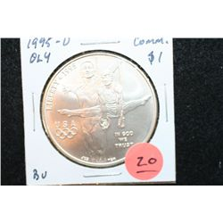 "1995-D US Olympic Atlanta ""Gymnastics"" Commerative $1 Coin, BU"