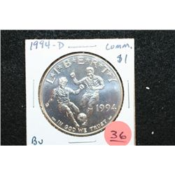 1994-D US World Cup Soccer Commerative $1 Coin, BU