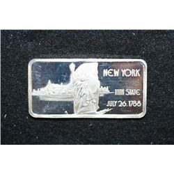 "New York ""11th State"" Silver Ingot, .999 Fine Silver 1 Oz."