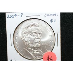 2009-P US Abe Lincoln Commerative $1 Coin, BU