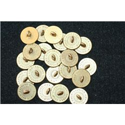 "Vintage Brass Buttons ""Double Gilt, 2nd Quality"", Lot of 20"