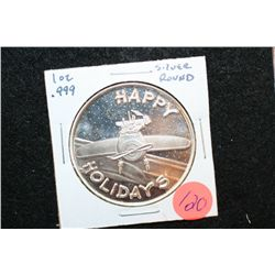 2007 Happy Holidays Silver Round, .999 Fine Silver 1 Oz.