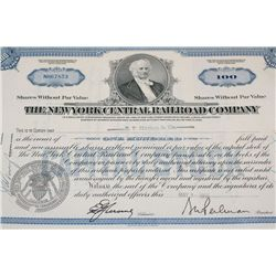 The New York Central Railroad Co. Stock Certificate Dated 1956