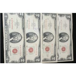 1963 United States Note $2, Red Seal, Lot of 4