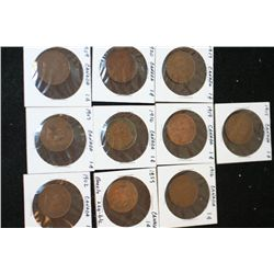 Canada One Cent Foreign Coin, Lot of 10, Dated 1859-1920