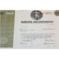 Faberge Inc. Stock Certificate Dated 1973