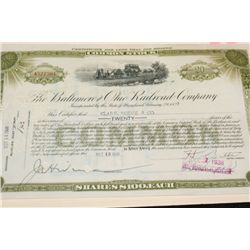The Baltimore and Ohio Railroad Co. Stock Certificate Dated 1938