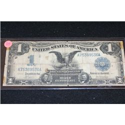 1899 US Silver Certificate $1, Blue Seal, Large Eagle Bill