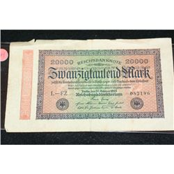 1923 German 20,000 Zwanzigfaulend Mark Foreign Bank Note