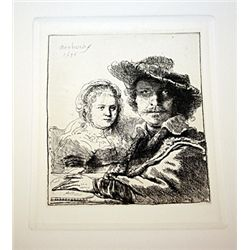 A. Durand Rembrandt - Self Portrait with Saskia - Etching