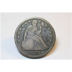 1872 Seated Dollar-Excellent G-4