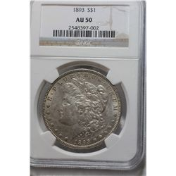 1893 AU-50 Morgan Silver Dollar