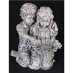 Boy and Girl with Sunflower Sculpture