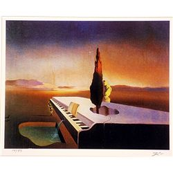 Salvador Dali Signed Limited Edition - Fountain Flowing from a Grand Piano