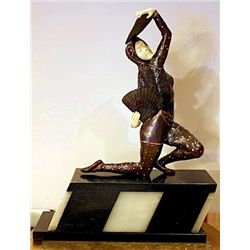 Oriental Fan Dancer - Bronze and Ivory Sculpture by Chiparus