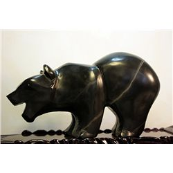 Original Hand Carved Marble  Bear  by G. Huerta