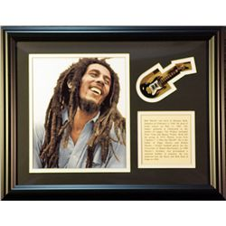 Bob Marley   Giclee, mini guitar &  Biography