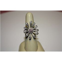 Stylish Lady's Silver & White Sapphire Ring