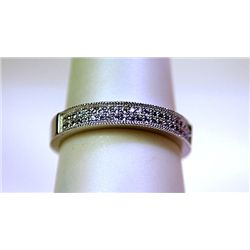 Unisex Sterling Silver Diamond Band Ring