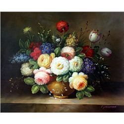 Original Oil on Canvas. Flowers by C. Freeman