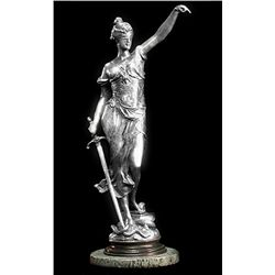 Original Fine Silver Sculpture - Scales of Justice by Mayer