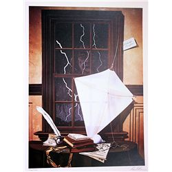 David Mann Signed and Numbered Lithograph - Tribute to Ben Franklin