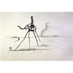 Original pen ink on laid paper - signed Dali