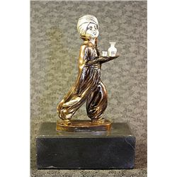 Oriental Waiter - Real Silver Sculpture by Preiss