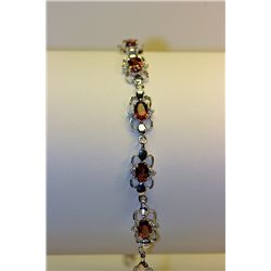 Lady's Fancy Silver Rose Garnet & Diamond Bracelet