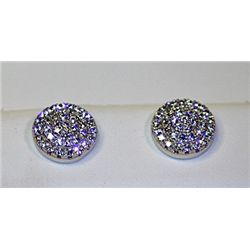 Lady's Antique Style Sterling Silver Round Shape Diamond Earrings