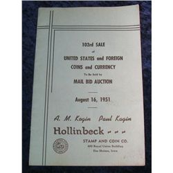 2. August 16, 1951 Kagin/Hollinbeck Coin Auction Catalog.