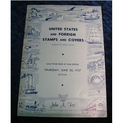 "6. June 20, 1957 ""U.S. and Foreign Stamps and Covers"", Sold by John A. Fox."