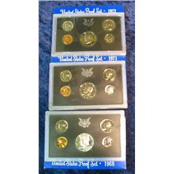 26. 1968S, 71S, & 72S U.S. Proof Sets. Original as issued.
