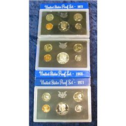 27. 1968S, 71S, & 72S U.S. Proof Sets. Original as issued.