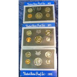 28. 1968S, 71S, & 72S U.S. Proof Sets. Original as issued.